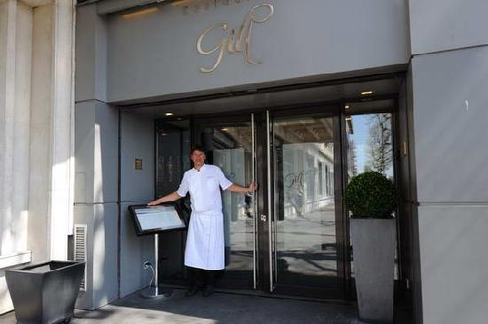Chef Gilles in front of the restaurant.