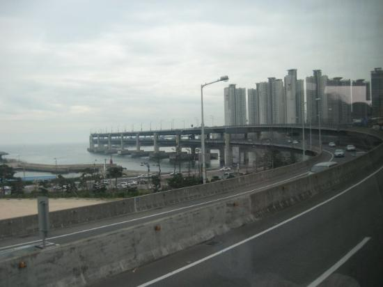 Busan, South Korea: coming up on Gwangalli bridge