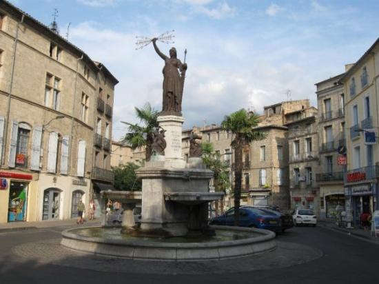 Pezenas, France: the statue of Marianne, symbol of the revolution.