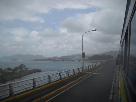The bridge into Tacloban City...it's a very cool bridge, already forgot the name of it.