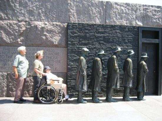 Franklin Delano Roosevelt Memorial: I told them to get out of that line. Those men were rooted to their spots and the line wasn't mo