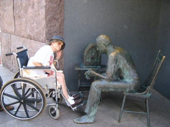 Franklin Delano Roosevelt Memorial: My Grandma posing at the FDR memorial in DC in 2005, I think. She was always up for fun pictures