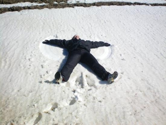 Maggie Valley, NC: Lynn making a snow angel