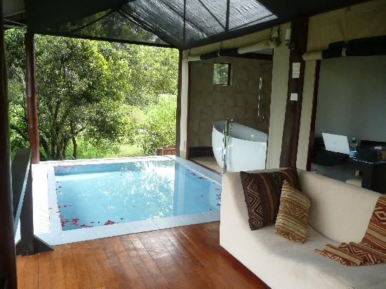 Ngerende Island Lodge: Our room at Ngerende showing Jacuzzi and plunge pool
