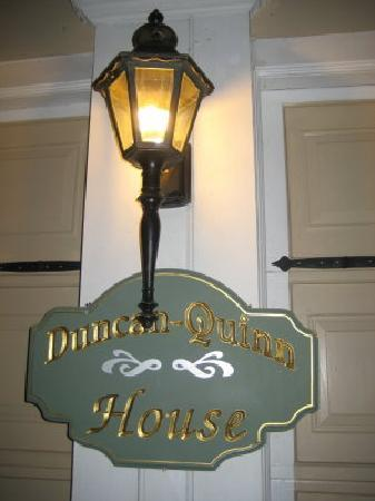 Duncan-Quinn House: Front Sign on Garage