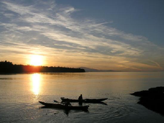 Bates Beach Oceanfront Resort: Kayaking at sunse - one of the resort activities.