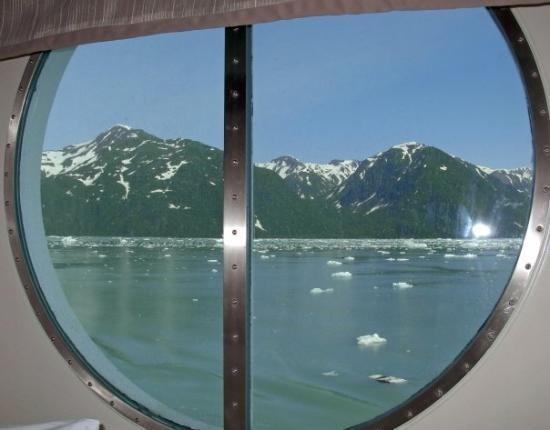 Seward, AK: View at Hubbard Glacier out of stateroom port window