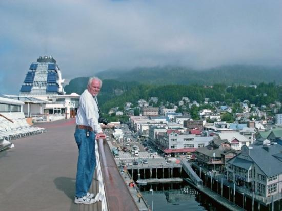 Dave looking down on Ketchikan from our ship