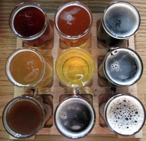 The sampler at Thirsty Pagan Brewing.