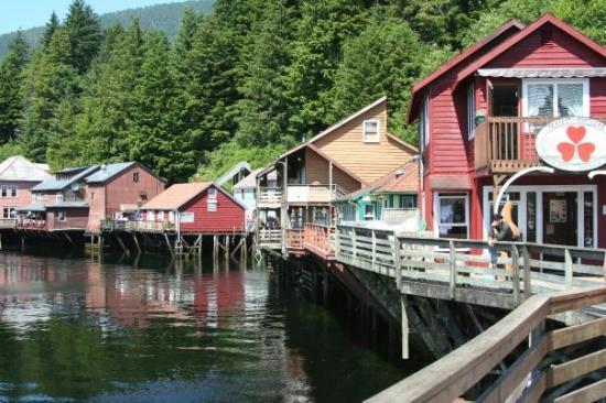 Cute Creek Street in Ketchikan's former red light district