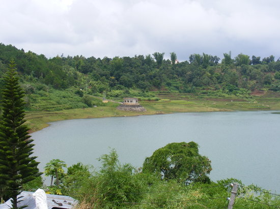 Pleiku, Vietnam: rim of the lake/crater is lined with ancient rice paddies