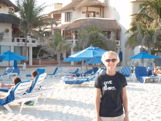 Playa Palms Beach Hotel: On the beach with the hotel behind my wife