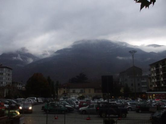 View of Aosta mountains where we were - seen in ther distance from car park