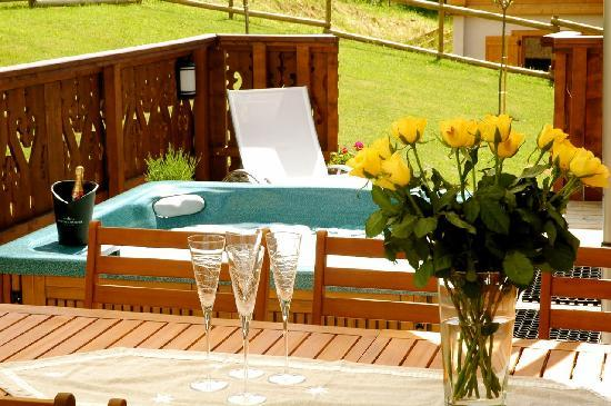 Sun terrace and hot tub, Chalet Annabelle, Chamonix