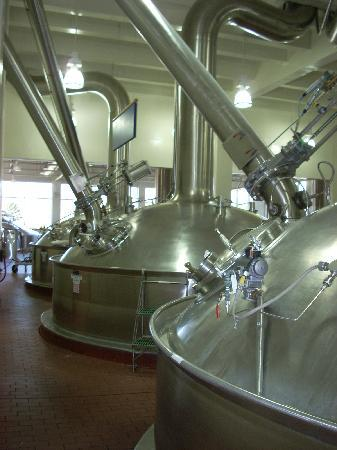 Merrimack, NH: The factory is spotless; here the brewing tanks are polished to a shine.