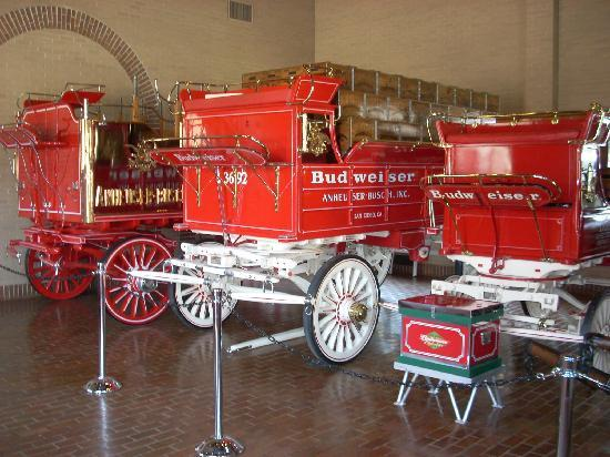 Anheuser-Busch Brewery Tours: The wagons in the Clydesdale Stables