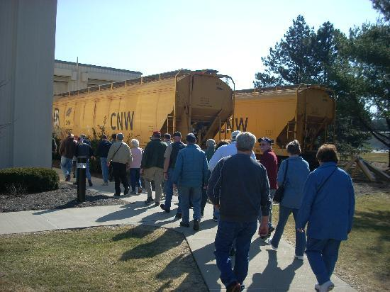 Anheuser-Busch Brewery Tours: These rail cars are unloading grain to be used in the brewing process.