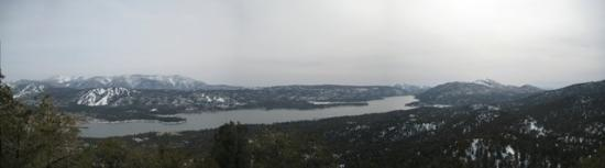 Big Bear Region, CA: Big Bear Lake Panorama from Bertha Peak Summit