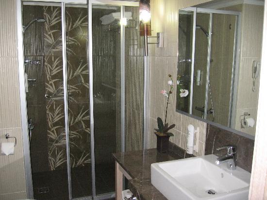 Ambassador Plaza Hotel : salle de bain décor bambou