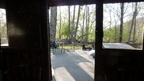Lewis Mountain Cabins: view from inside tent cabin