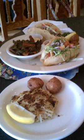 Chef David's Roastfish & Cornbread: The wife's fish tacos and crab cake