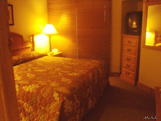 Worldmark Galena: 1 bedroom: king bed, tv, closet doors to porch and door to bathroom