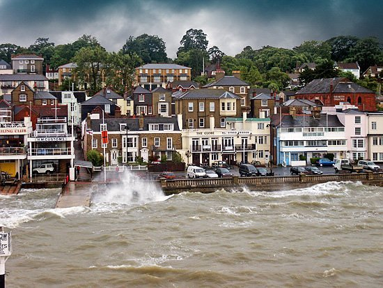 Каус, UK: Entering Cowes harbour, Isle of Wight, after a stormy ferry crossing
