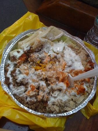 53rd & 6th Halal: Combo platter w/white sauce and small amount of red sauce