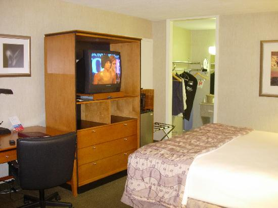 Ramada Harrisonburg: Television and doorway to bath area