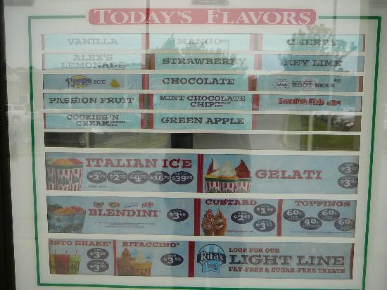 Bear, DE: Rita's Water Ice Menu