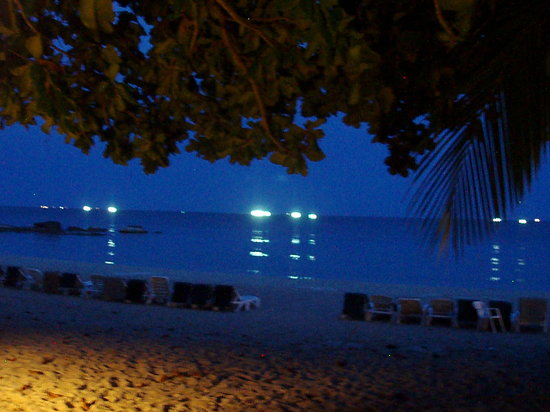 First Bungalow Beach Resort: View from our Bungalow at night!