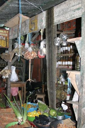Iquitos, Peru: Drug store in the street market.   Note the snake skin.