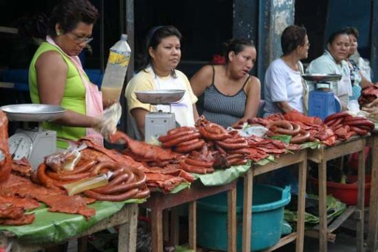 Meat in the street market of Iquitos.