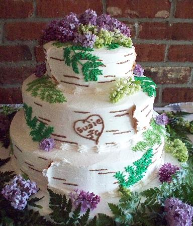 Cakes For All Occasions Birch Bark Wedding Cake With The S Names Carved Into A