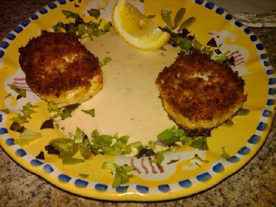 Back Eddy Bistro: Back Eddy's jumbo lump crab cakes served with Cajun remoulade sauce.