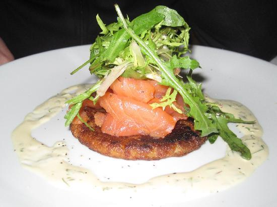 Blaby Westfield House Hotel: Fantastic salmon starter in hotel restaurant