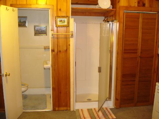 Our room at the Coach House at Montgomery Center featured a shower that opened directly into the