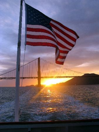 American Flag W Golden Gate Bridge Sunset Picture Of