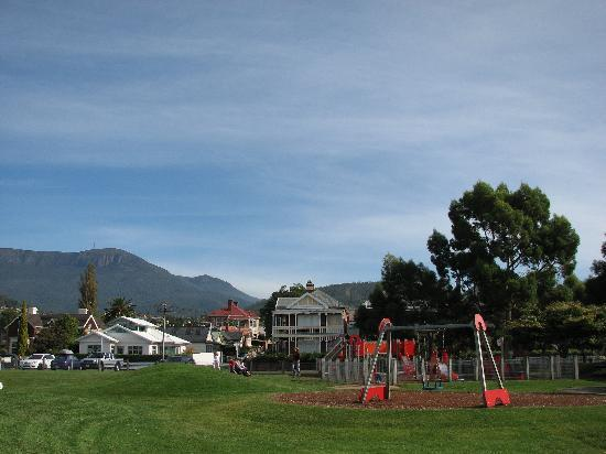 Hobart, Australia: Park on harbour at Battery Point and Mt Wellington in background