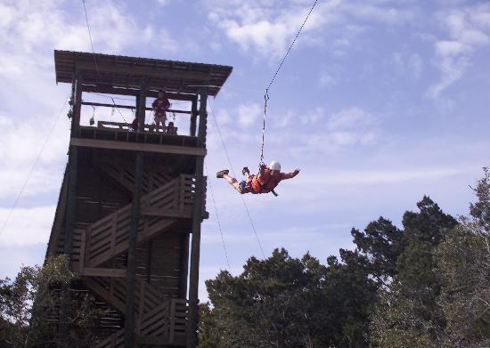 Climbing tower and zip lines - Picture of Natural Bridge Caverns ...