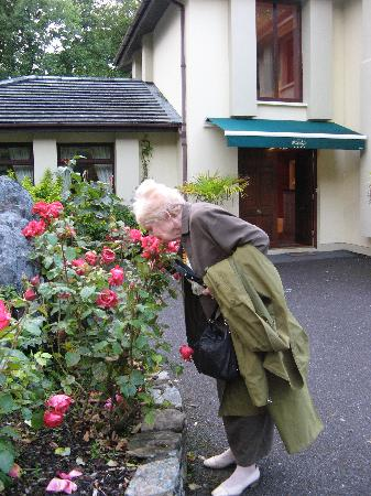 "Smelling the roses outside ""the Lodge"""
