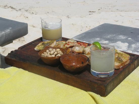 Drinks on the beach at Posada Margherita
