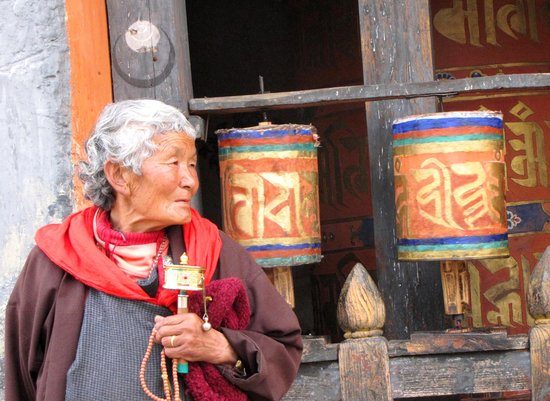 Bhutan: prayer wheels