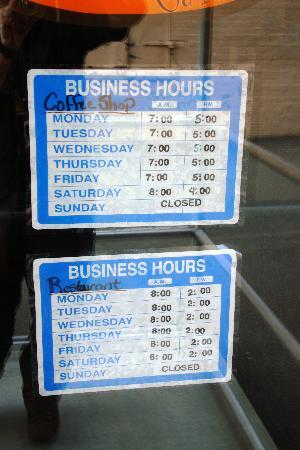 Kimberly's Cool Beans Cafe : Hours
