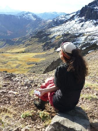 Red de turismo Comunitario Pehuenche Trekaleyin: looking down to the winter pastures