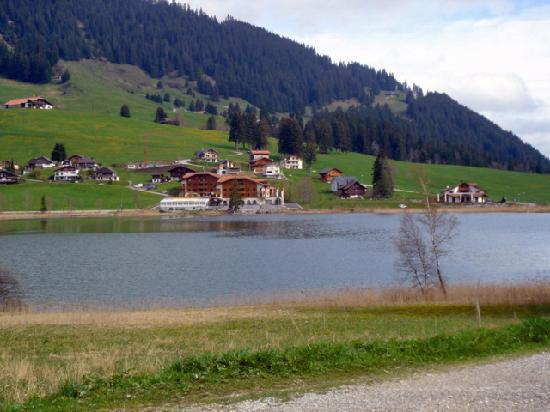 Schwarzsee, Switzerland: view of hotel from opposite side of lake