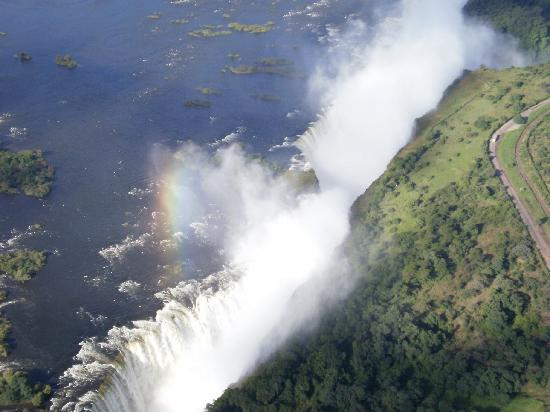 Victoria Falls, Zimbabwe: Vic Fall Helicopter rainbow Apr 2010