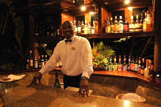 East Winds: Titus serving up evening cocktails in the Bamboo Lounge