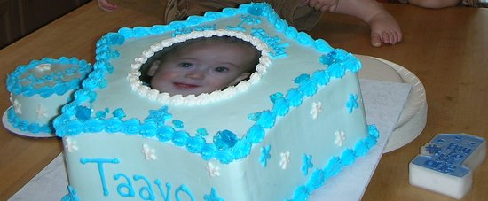 A 1st birthday cake for my son with a smasher cake I was very happy