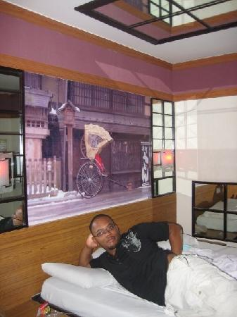 Hotel Sogo: my hubby acting silly